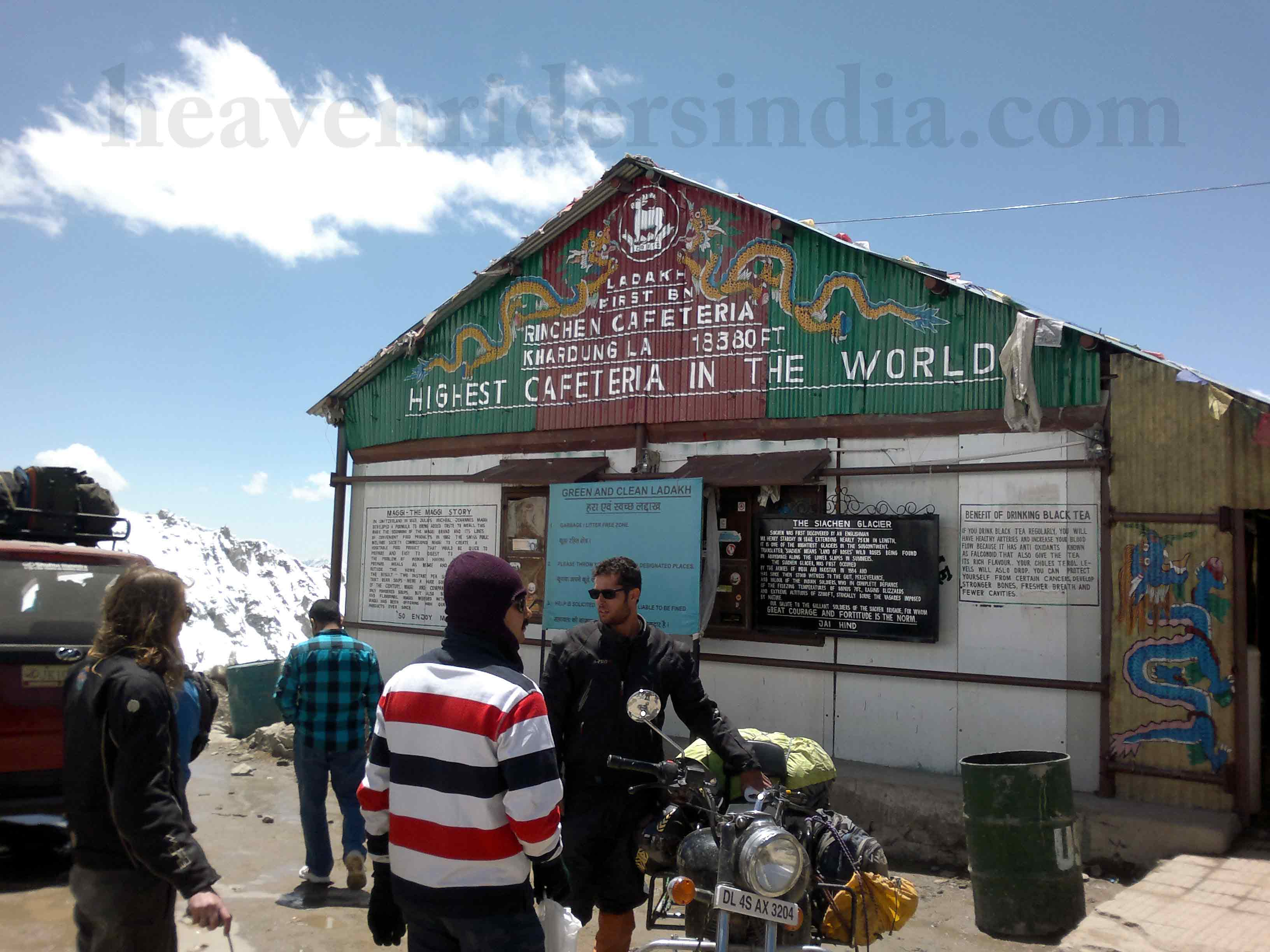Riders at highest cafeteria at Khardung la top during Road trip to Leh-Ladakh