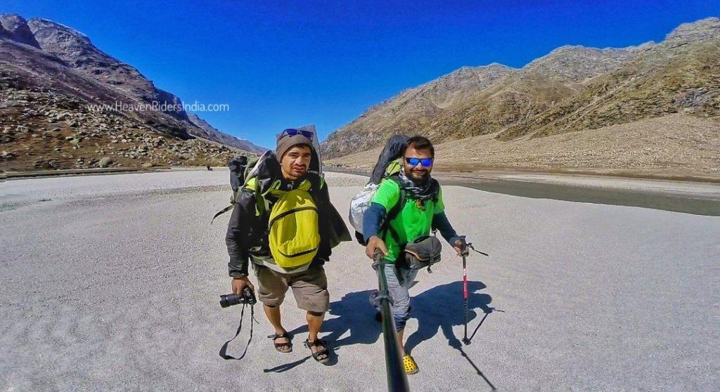 Crossing Parvati River on Pin-Parvati Trek